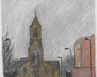 Crayon drawing of a church by Butterfield, London