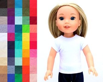 Fits like Wellie Wishers Doll Clothes - Trendy Cap Sleeve Tee, You Choose Color | 14.5 Inch Doll Clothes