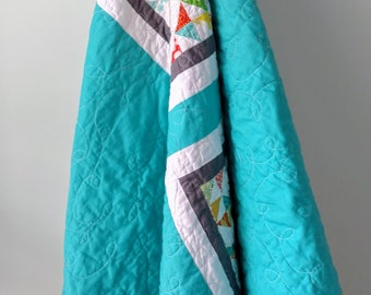 Modern Throw Sized Patchwork Quilt in Aqua, Green, Yellow and Orange