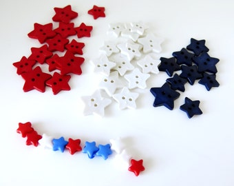 Patriotic Acrylic Star Button and Bead Mix - Red White Blue - July 4th July 4 - Celestial
