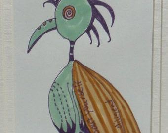 Funky dessin oiseau plume Original
