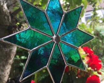 Stained Glass Suncatcher Teal Blue Colour Art Star Stain Glass Color - CRhodesGlassArt