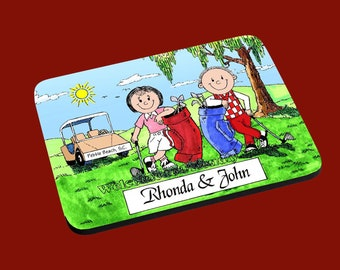 personalized Golfer Couple Male and Female Mouse Pad