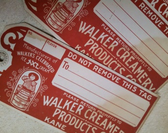 Walker creamery milk dairy tags advertising vintage mint