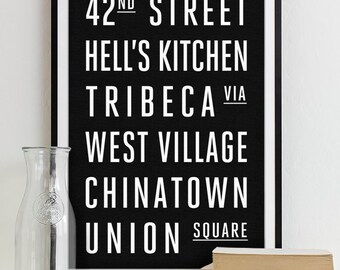 New York Subway Sign Art - Typography Print - Subway Print - Bus Roll - City Art Poster