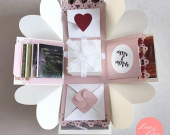 Wedding exploding box //Wedding explosion box // Love Explosion Box // Love Exploding Box // Anniversary exploding box//Cream white pink