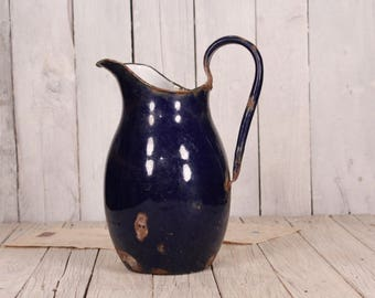 Enamelware jug, French enamelware jug, Pitcher enamel jug, Water enamel jug, Antique enamel jug, Large enamel pitcher, Blue enamel jug