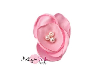 """1.5"""" Light Pink Mini Poppy with Pearl Flower- You Choose Quantity- Diy Headband Supplies- Flower- Wholesale- Supply Shop"""