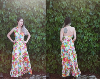 Vintage 1950s 40s XS / small floral halter dress - maxi gown - colorful taffeta / open back / novelty print - formal / prom / midcentury