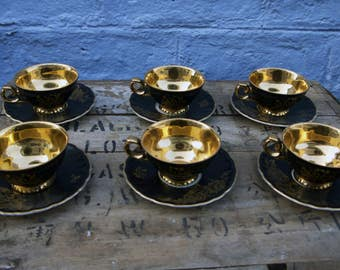 Stunning little bavarian black and gold vintage espresso cups - six cups and saucers
