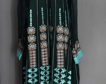 Embroidered India Maxi Festival Dress Ethnic Tribal Embroidery Long Sleeves Turquoise Green Blue Floral Flowers