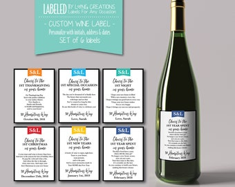new home wine labels - housewarming gift - milestone labels - first wine bottle labels - personalized house warming gift - waterproof labels