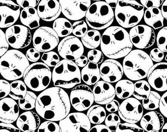 In stock Disney Fabric: Nightmare Before Christmas Fabric Jack Faces Packed 100% cotton fabric by yard SC601