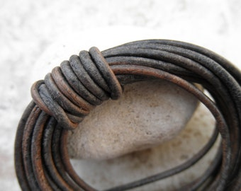 Round Leather Cord - 1.5mm -Natural Dye Grey - By the Yard
