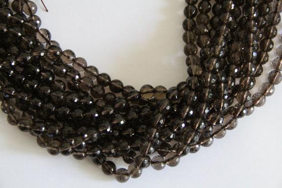"""Smoky Quartz 10mm faceted round beads 8"""" length strand"""