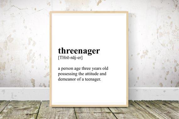 Threenager Definition Nursery Wall Art Nursery Decor Baby