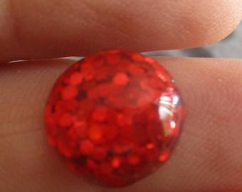 Red glittery round resin 12mm themed resin needleminder  magnet
