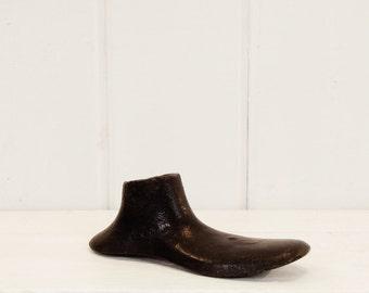 Vintage Cast Iron Shoe Form, Child Size Shoe Last, Black Cast Iron Shoe, Paper Weight, Bookend, Children Nursery Decor