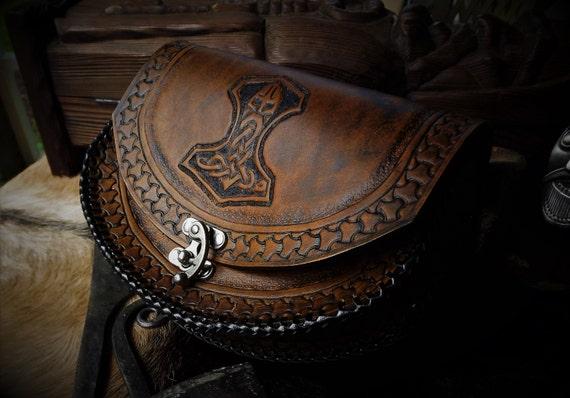 Viking Leather Belt Pouch - Mjolnir - Thor's Hammer - Ram Hammer  - Celtic - Viking Inspired - Festival / Bushcraft Possibilities Bag