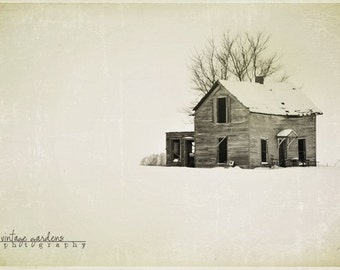 Old abandon house-winter photography-old house photo-snow photo-black and white - Original fine art photography prints - FREE Shipping
