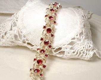 Vintage Dark Red Rhinestone Bracelet, CORO Gold Garnet Crystal Bridal Bracelet,Wide Link Bohemian Garnet Red Wedding Jewelry 1950's PRISTINE