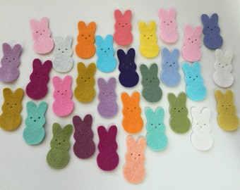 Wool Felt Die Cut Easter Bunnies 30 - 1-3/8 inch tall Random Colored*stock image - Felt supplies - DIY - Felt for crafting - Easter Decor