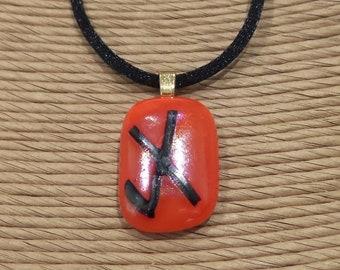 Orange Fused Glass Pendant, Irridescent Glass, Shiny Pendant, X, Halloween, Autum Color, Ready to Ship, Bold Orange - Tic Tac Toe -1828