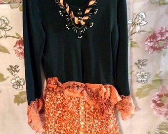 "Juicy"" Upcycled top tunic 32""bust small"