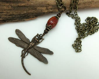 Dragonfly Necklace Chain – Red Jasper and Antiqued Brass Dragonfly Necklace – Antique Style Extra Long Necklace