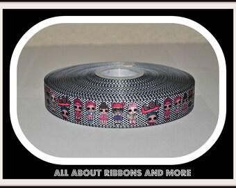7/8 inch LOL Surprise Black and White Polka Dot Grosgrain Ribbon( 5 yard Package)