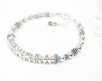 Gold & Silver Grandmother Bracelet-Mother's Bracelet-Personalized Gold Bracelet for Grandma Mimi Gigi Nana-Gold Name Bracelet-Mother's Day