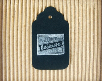 Chalkboard Gift Tags, Gift Tags, Vintage Design, Black Chalkboard, Just Because,Gift Giving, Hand Stamped, set of 6