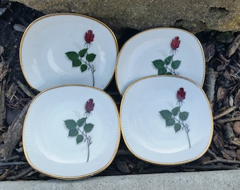 Vintage Marktleuthen Bavaria, Pattern Name Winterling Or WIG36, Four Personal Chintz, Salt & Pepper Cellars or Dessert Plates