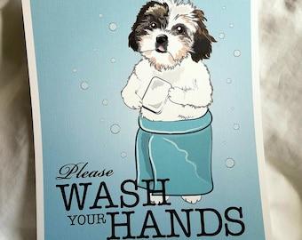 Wash Your Hands Shih Tzu - 8x10 Eco-friendly Print