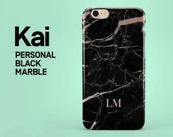 Personalized Black Marble name phone case for iPhone 6,6s,5,5s,se,7,8,7 plus,8 plus, X, custom initials phone cover, personalized, tough