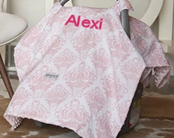Pink Baby Car Seat Canopy Baby Car Seat Cover Pink Minky Blanket Personalized blanket Custom Canopy Baby Shower Gift Pink Baby Car Seat Cove
