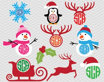 Christmas Monogram set DXF SVG PNG Snowman anlter snowflake sleigh pinguine winter, Silhouette studio,  Cricut Design, Sure Cuts, Makes Cut