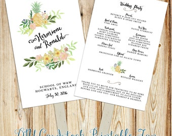 Printable Wedding Program Fan Digital File- Double-Sided Program ~ Pineapple, watercolor flowers, rustic florals, blush, hand script