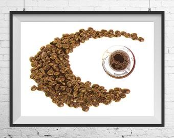 Coffee print, Coffee poster, Coffee art, Coffee wall art, Coffee design poster, kitchen poster, kitchen print, A3 print, A4 print