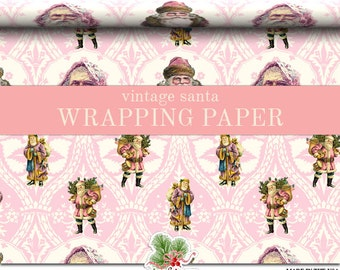 Victorian Santa Pink Christmas Wrapping Paper Roll |  Pink Vintage Christmas Custom Gift Wrap In Two Sizes Great For A Pink Christmas Theme