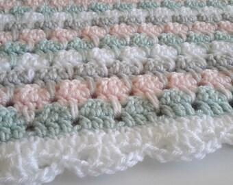 baby girl blanket, crochet stripe, crochet blanket, afghan crochet, crocheted blanket, crocheted afghan, pretty pastels, modern nursery
