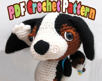 PDF Amigurumi / Crochet Pattern Sleepy Eye Dog – Dashy the Beagle and his baby CP-15-3267