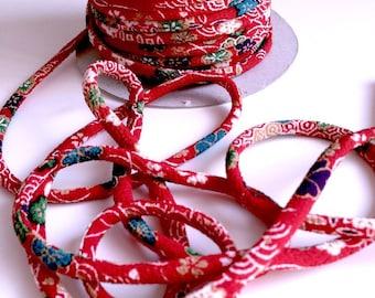 cords Japanese 4.5 mm, Chirimen, flowers, carmine red (C2002)