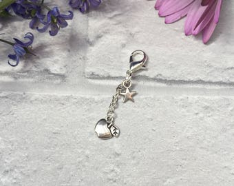 Zip Charm. Silver Apple and Star Zip Charm.  End of Term. Thank You  Apple for your teacher. Hanging Zip Charms.