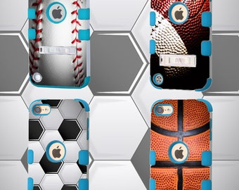 Football iPod Touch 5th Generation,Baseball iPod Sleeve 6th Gen Hybrid Protective Case With Stand,Love Soccer Sports,Basketball Texture