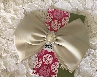 Platinum Satin Hair Bow, Pearl Rhinestone Center, Silver Flower Girl Hair Bow, Holiday Sparkle Hair Bow, Christmas Hair Bow, Pageant Bow