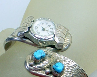 Vintage Navajo Turquoise Watch Bracelet - Solid Sterling Silver - Cuff - Runs Fine - Blue Mountain  - Heavy Silver - Lovely - 6.5+ SALE