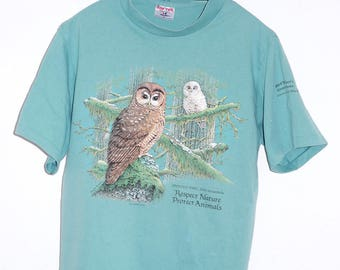 Spotted Owl Birdwatch M/L Vintage T-Shirt Turquoise Made In USA Respect Nature Cape Cod