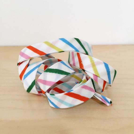 """Bias Tape- Cotton + Steel Rifle Paper Co Amalfi collection Happy Stripes cotton 1/2"""" double-fold binding- 3 yard roll"""