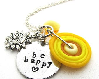 Be Happy, Sunny Yellow Handstamped Boho Charm Necklace, Pewter Pendant with Handmade Lampwork Disc Bead